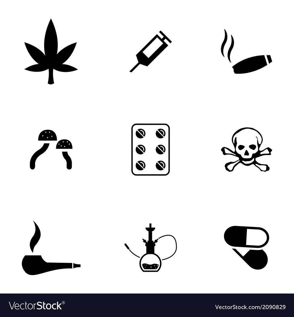 Black drugs icons set vector   Price: 1 Credit (USD $1)