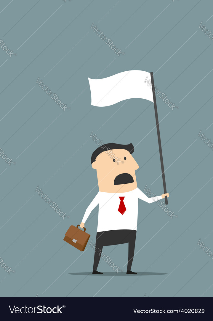 Cartoon flat businessman with white flag vector | Price: 1 Credit (USD $1)
