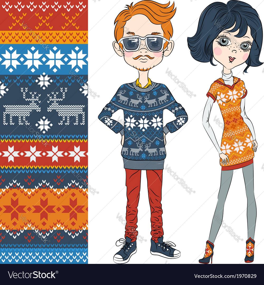 Fashion hipster boy and girl in knitted sweaters vector | Price: 1 Credit (USD $1)