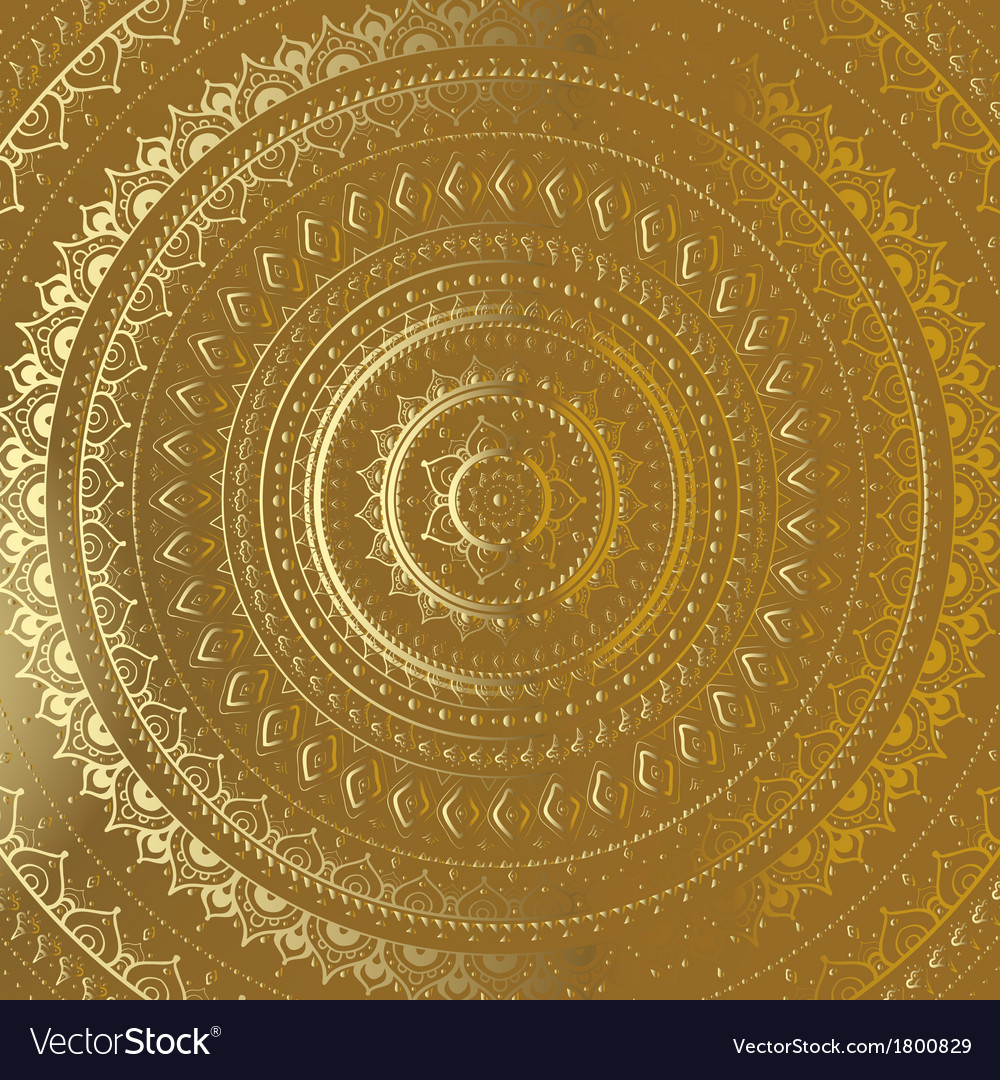 Gold mandala indian decorative pattern vector | Price: 1 Credit (USD $1)