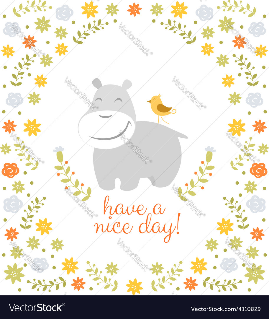 Happy hippo on floral background vector | Price: 1 Credit (USD $1)