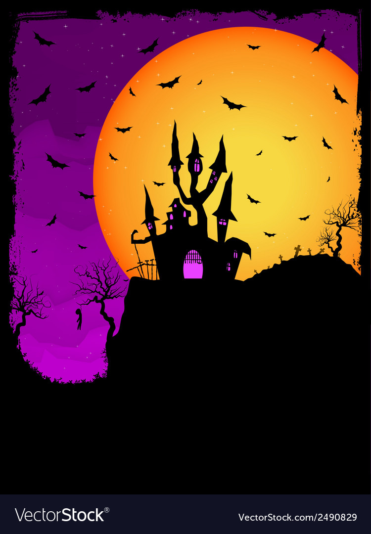 Haunted house on a graveyard hill eps 8 vector | Price: 1 Credit (USD $1)