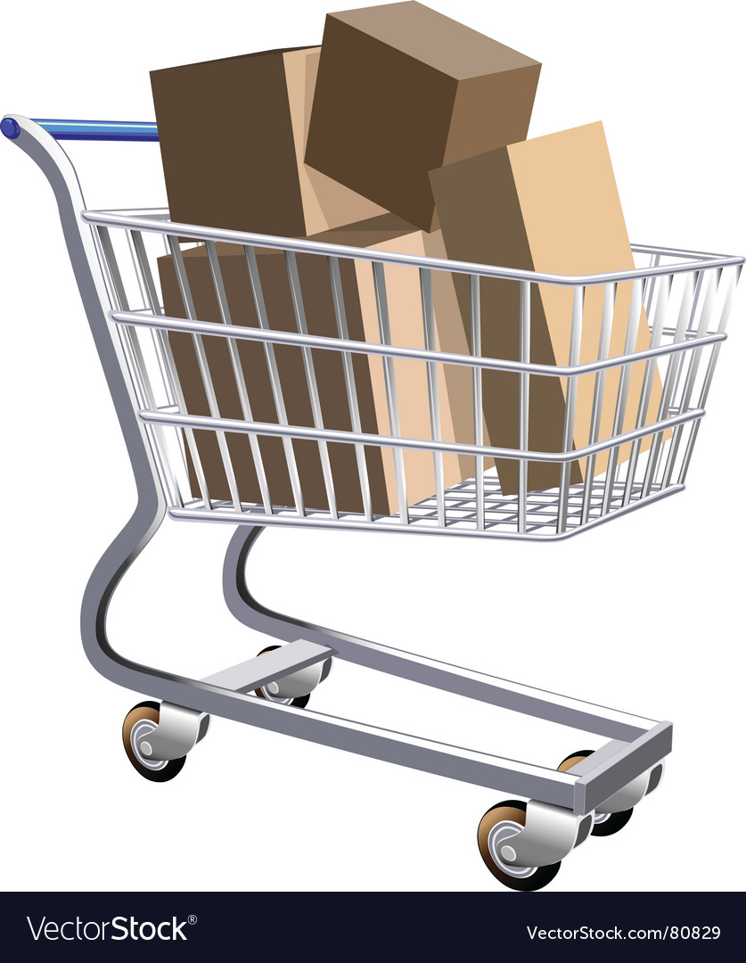Shopping cart full of parcels vector | Price: 1 Credit (USD $1)