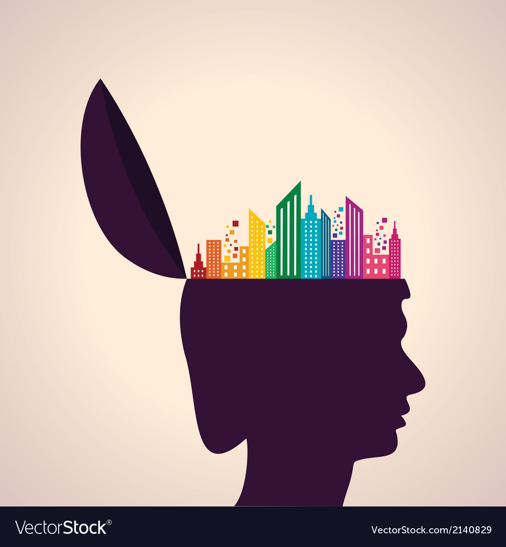 Thinking concept-human head with colorful building vector | Price: 1 Credit (USD $1)