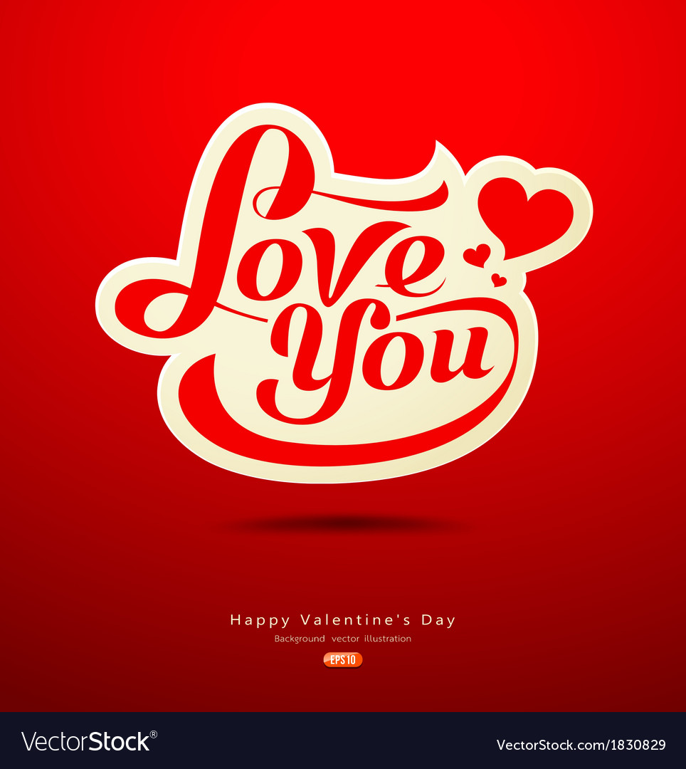 Valentines day message design on red background vector | Price: 1 Credit (USD $1)