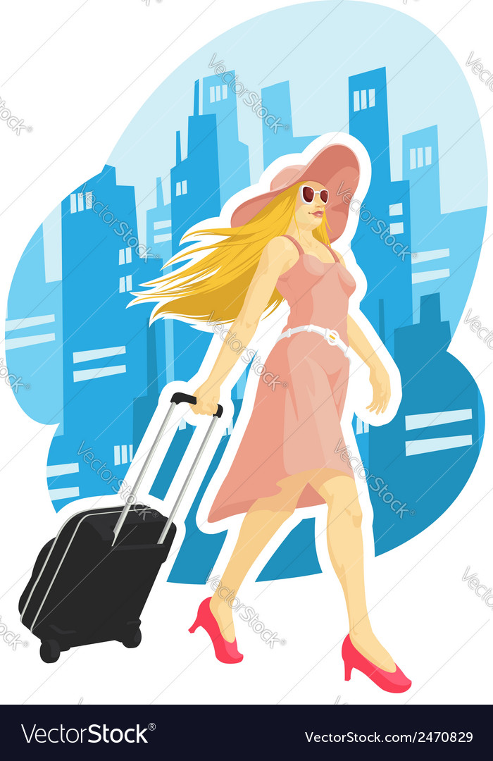 Woman tourist travelling with city background vector | Price: 1 Credit (USD $1)
