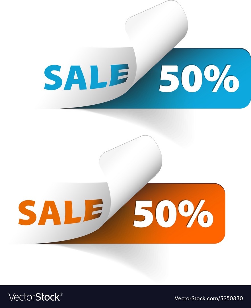 Blue and orange sale coupons 50 discount vector   Price: 1 Credit (USD $1)