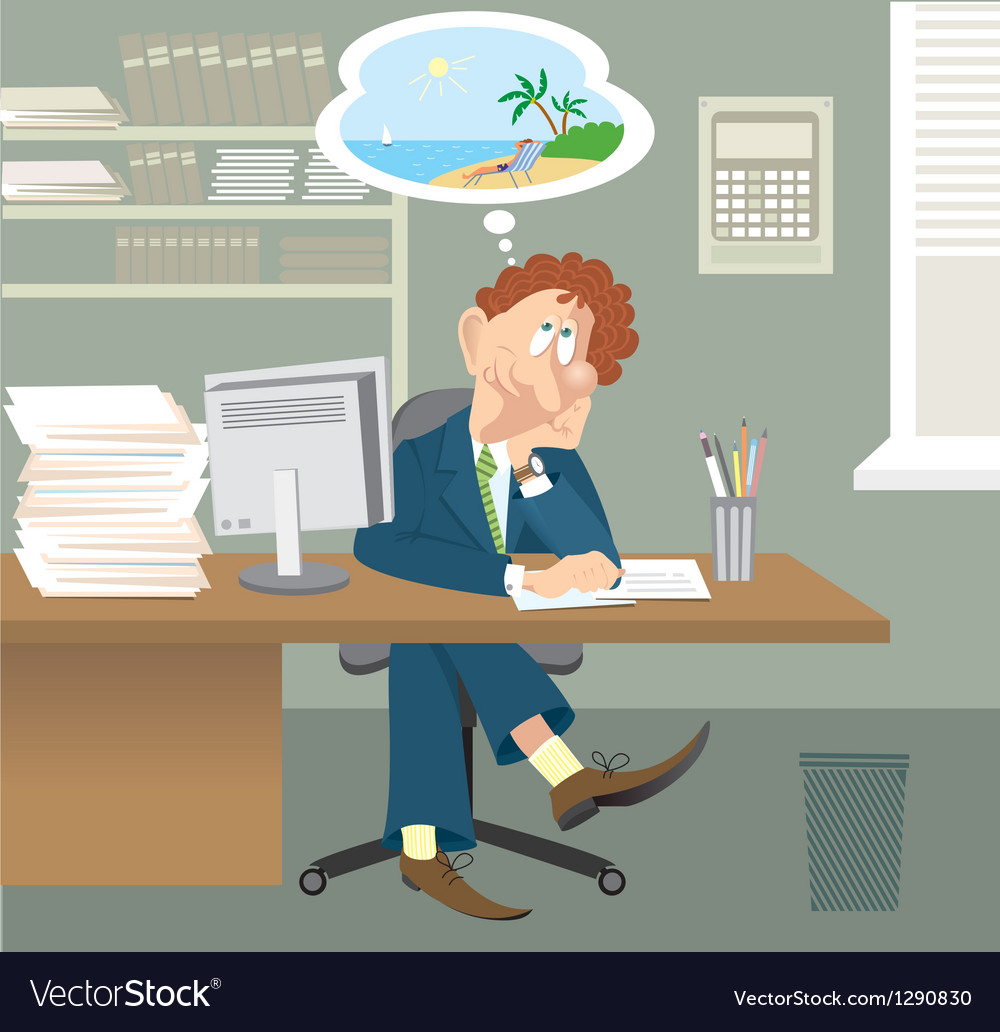 Business man sitting in office vector | Price: 3 Credit (USD $3)