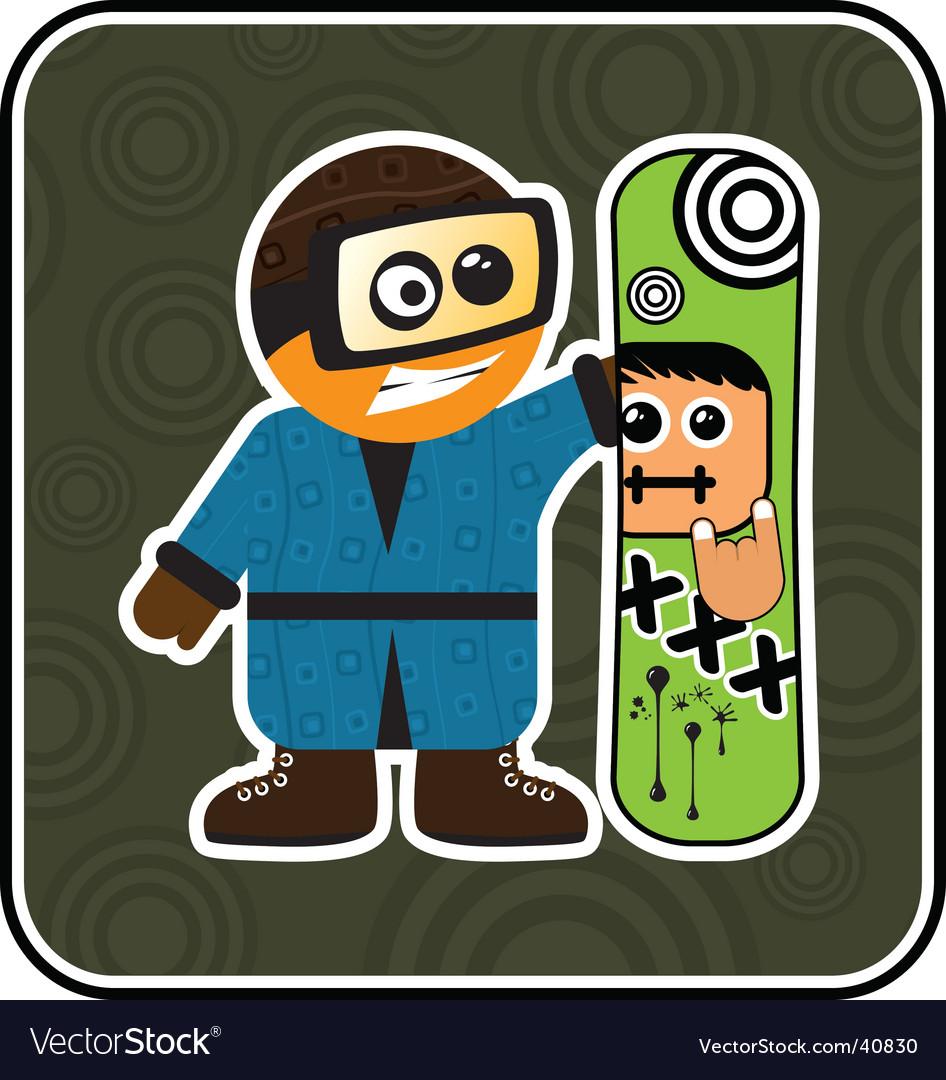 Cartoon snowboarder vector | Price: 1 Credit (USD $1)