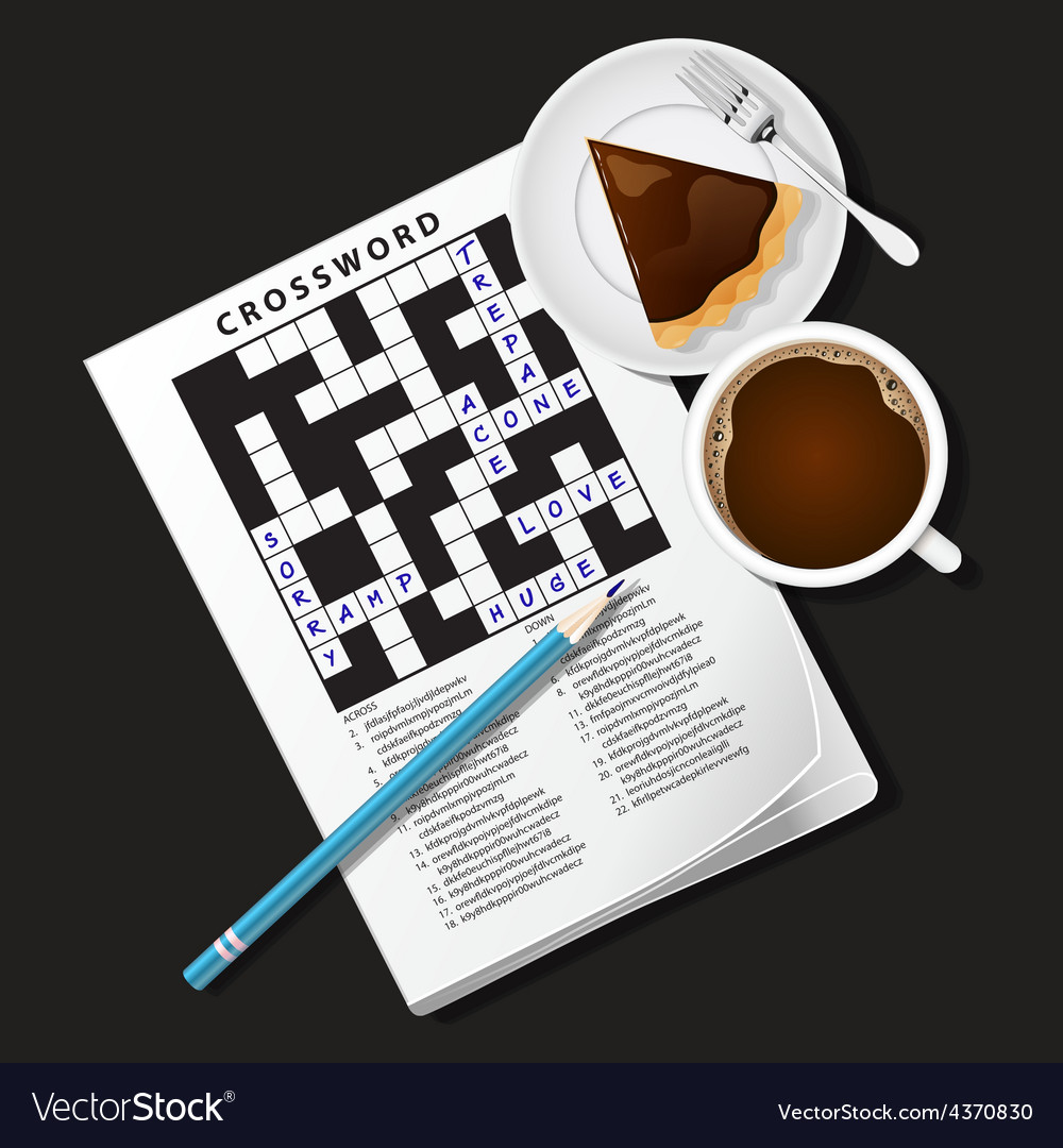 Crossword game mug of coffee and chocolate pie vector | Price: 3 Credit (USD $3)