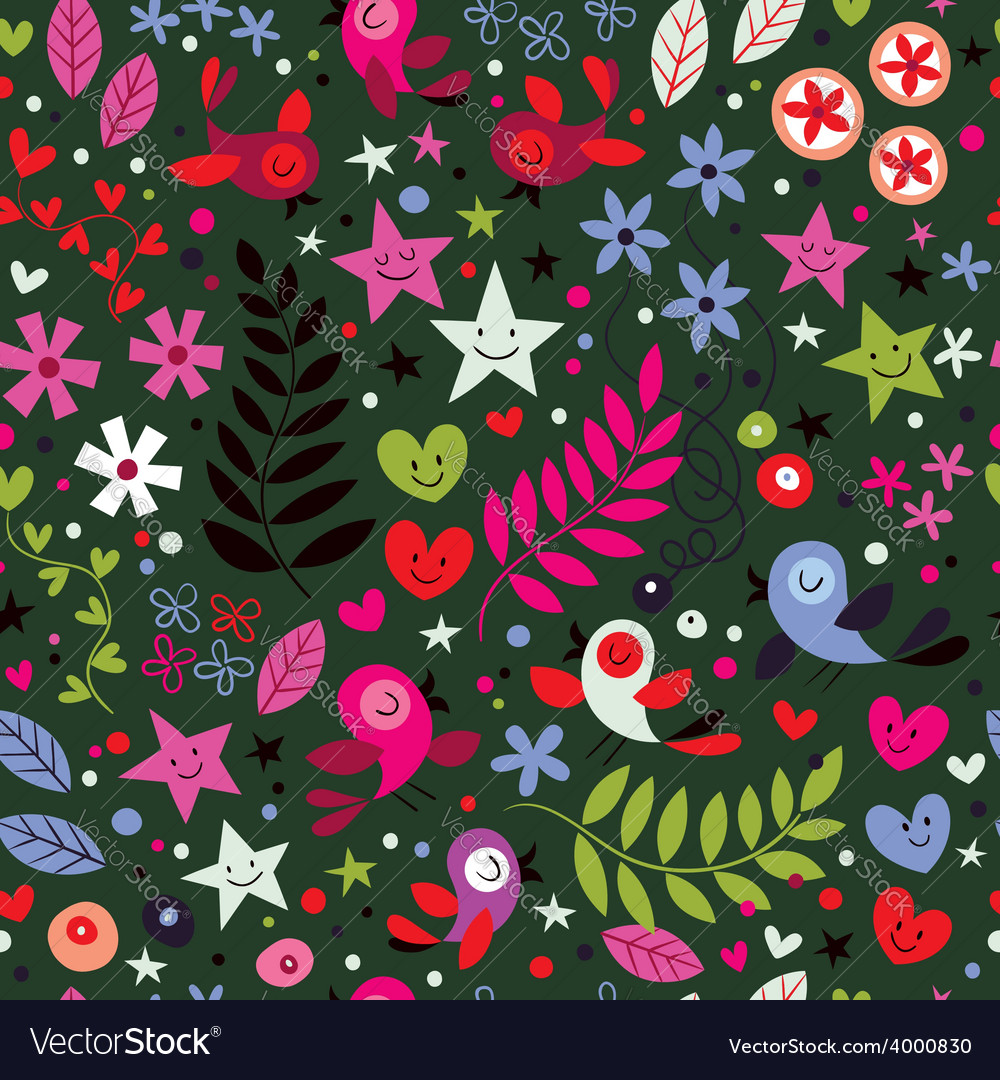 Cute birds flowers stars and hearts pattern 3 vector | Price: 1 Credit (USD $1)