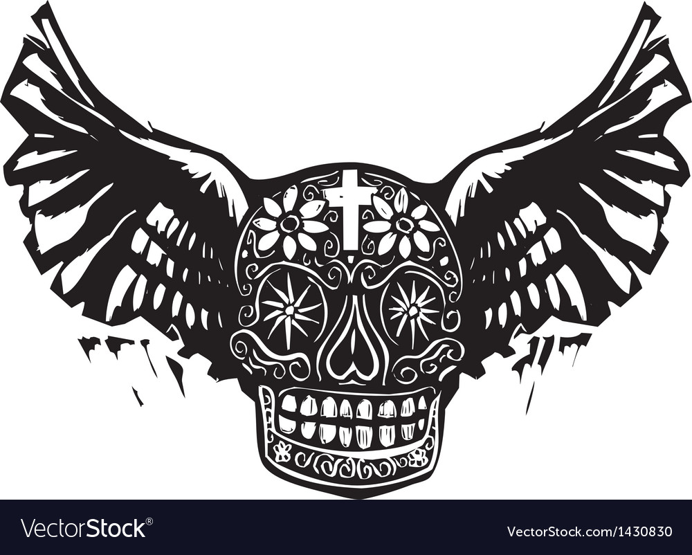 Day of the dead winged skull vector | Price: 1 Credit (USD $1)