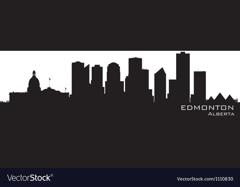 Edmonton canada skyline detailed silhouette vector | Price: 1 Credit (USD $1)