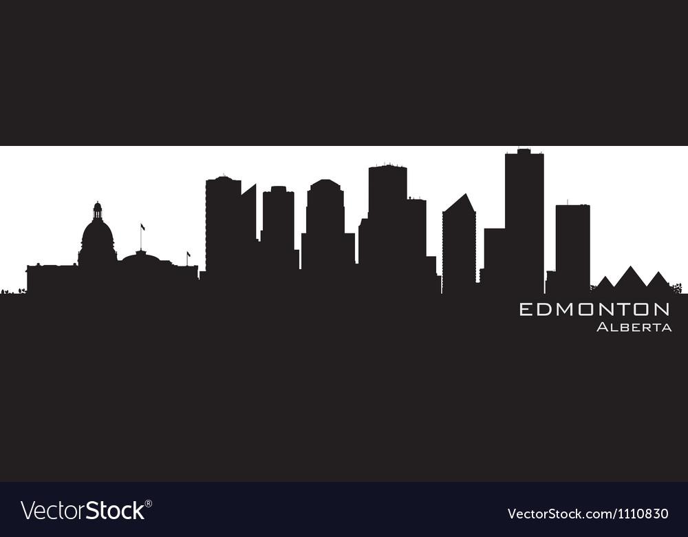 Edmonton canada skyline detailed silhouette vector