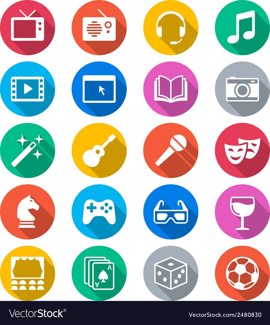 Entertainment flat color icons vector | Price: 1 Credit (USD $1)