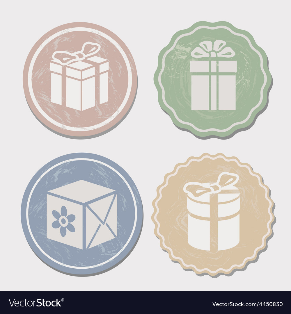 Gift box icon set different vintage styles vector   Price: 1 Credit (USD $1)