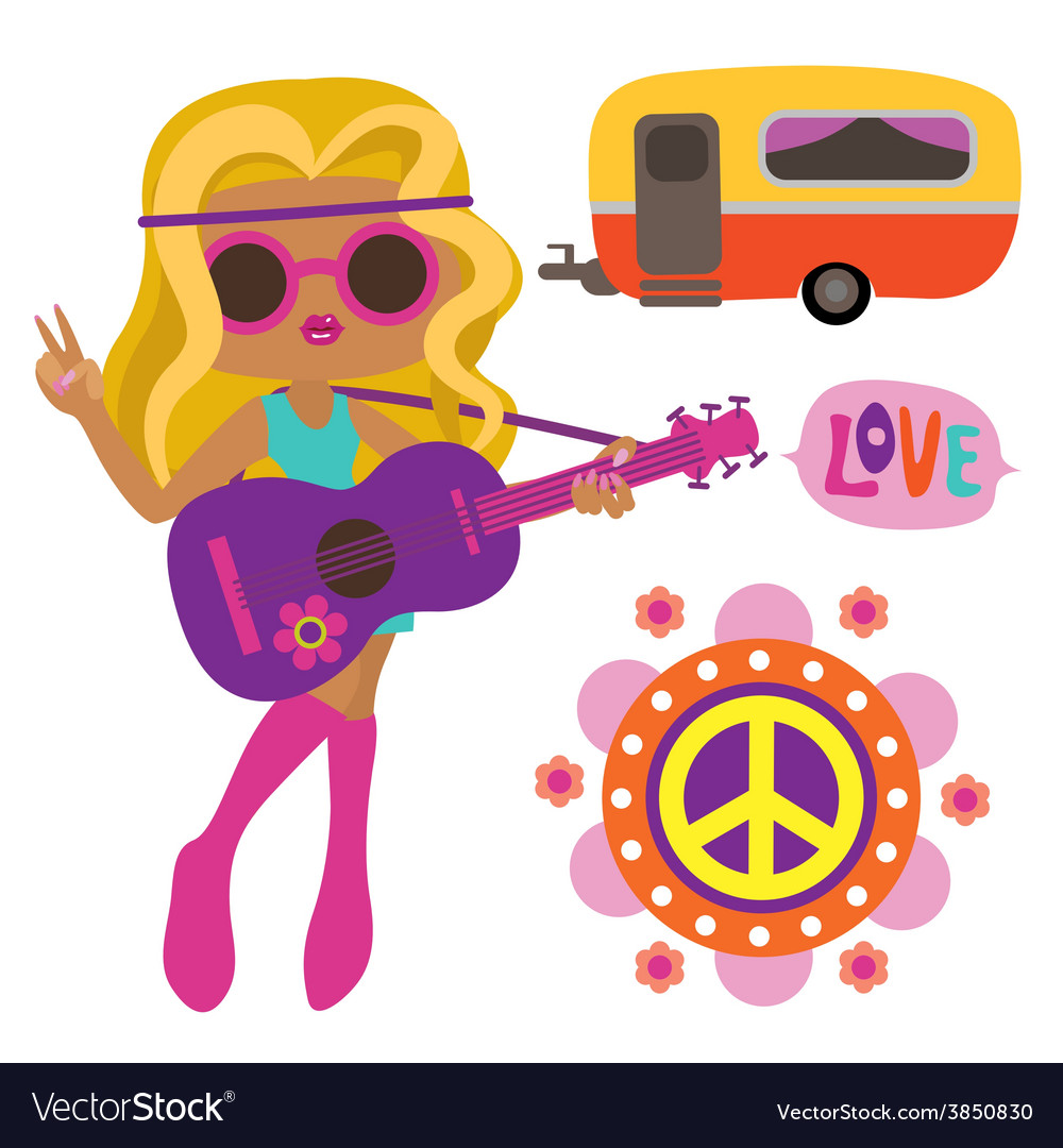 Hippie girl with style elements vector
