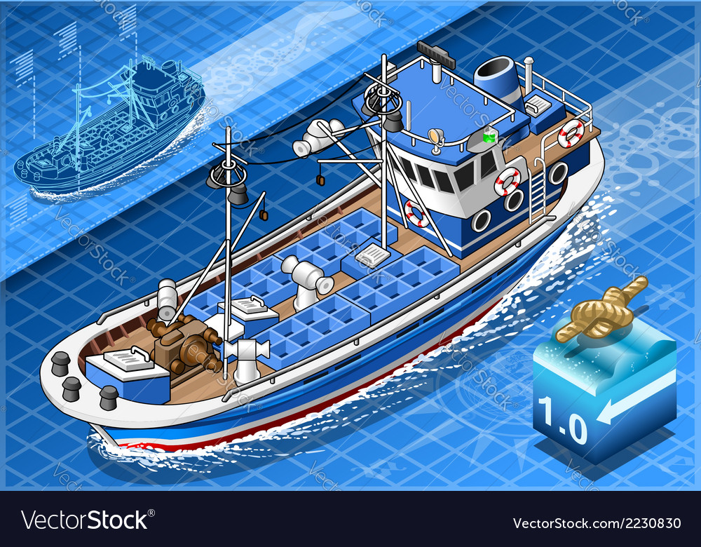Isometric fishing boat in navigation in front view vector | Price: 1 Credit (USD $1)