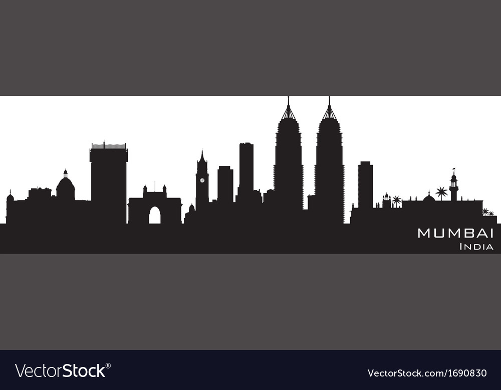 Mumbai india skyline detailed silhouette vector | Price: 1 Credit (USD $1)