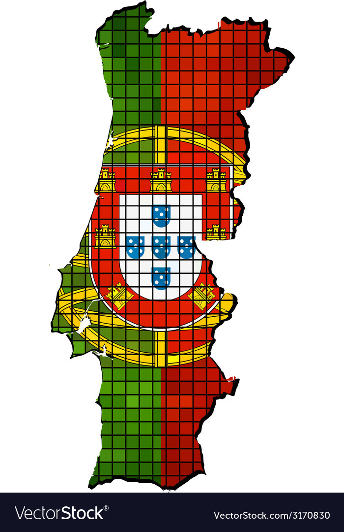 Portugal map with flag inside vector | Price: 1 Credit (USD $1)