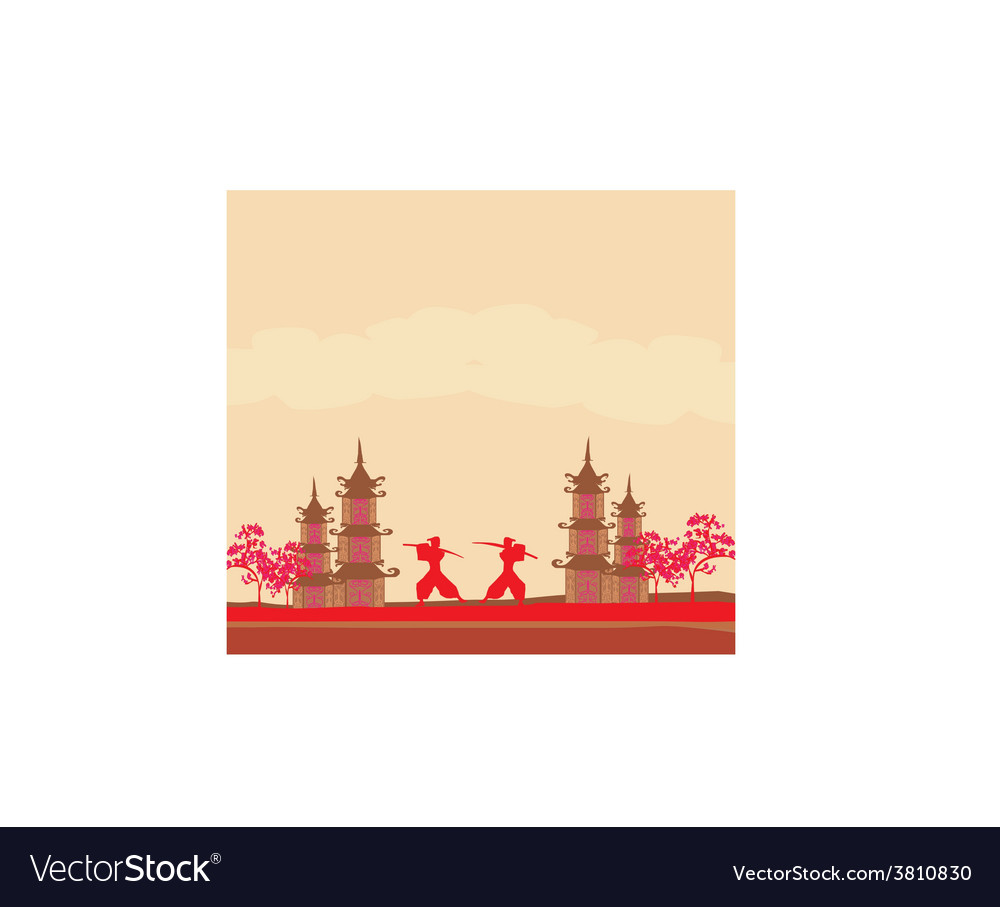 Samurai silhouette in asian landscape vector | Price: 1 Credit (USD $1)