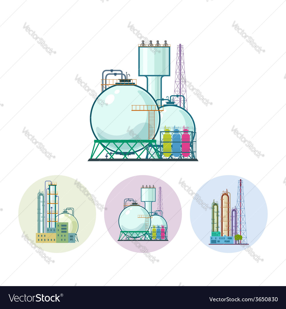 Set icons of a chemical plant vector | Price: 1 Credit (USD $1)