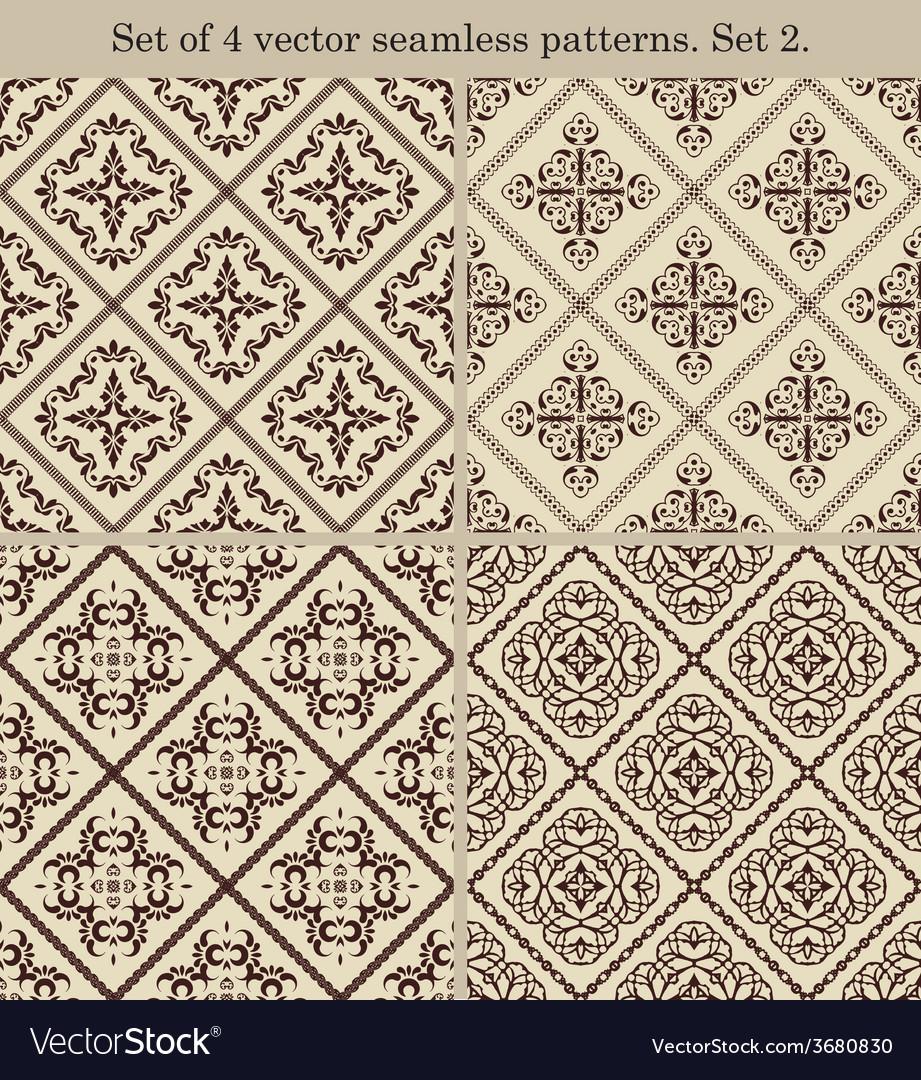Set of 4 vintage seamless patternsset 2 vector   Price: 1 Credit (USD $1)