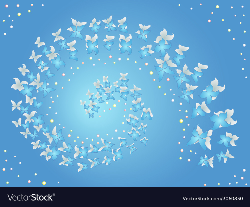 Spiral of flying butterflies on a blue vector | Price: 1 Credit (USD $1)