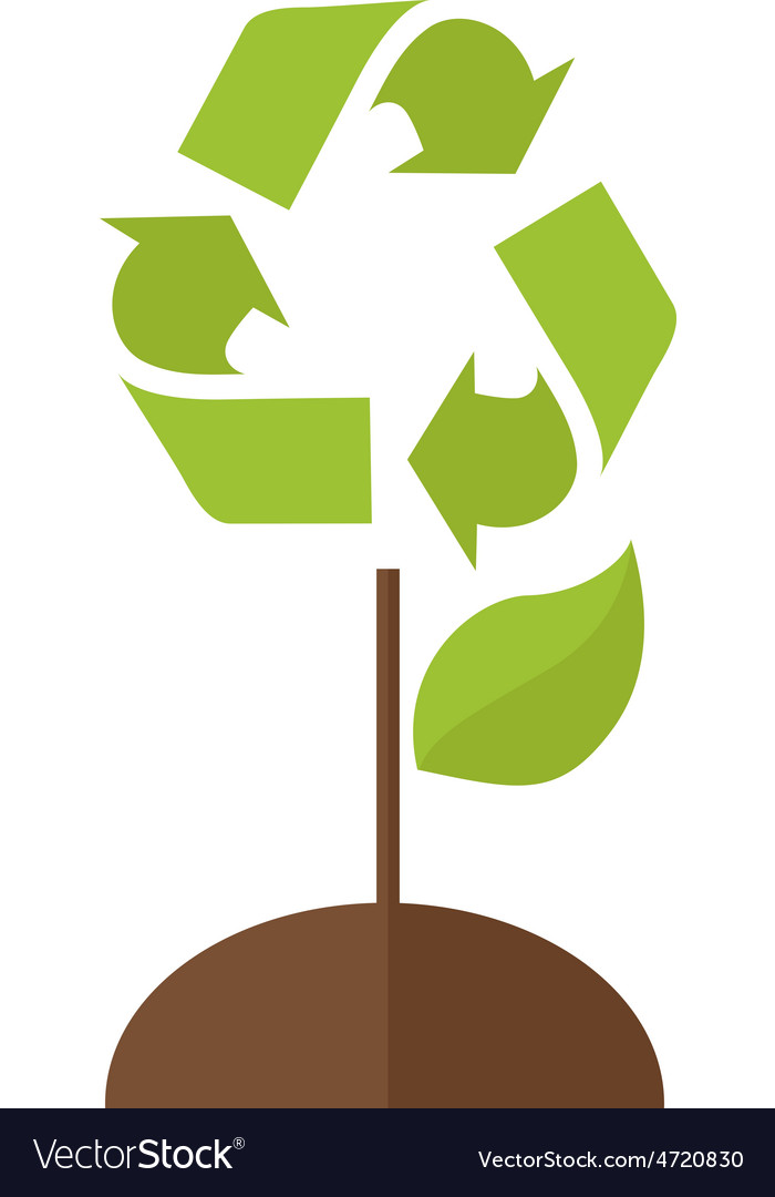 Tree with recycle symbol vector | Price: 1 Credit (USD $1)