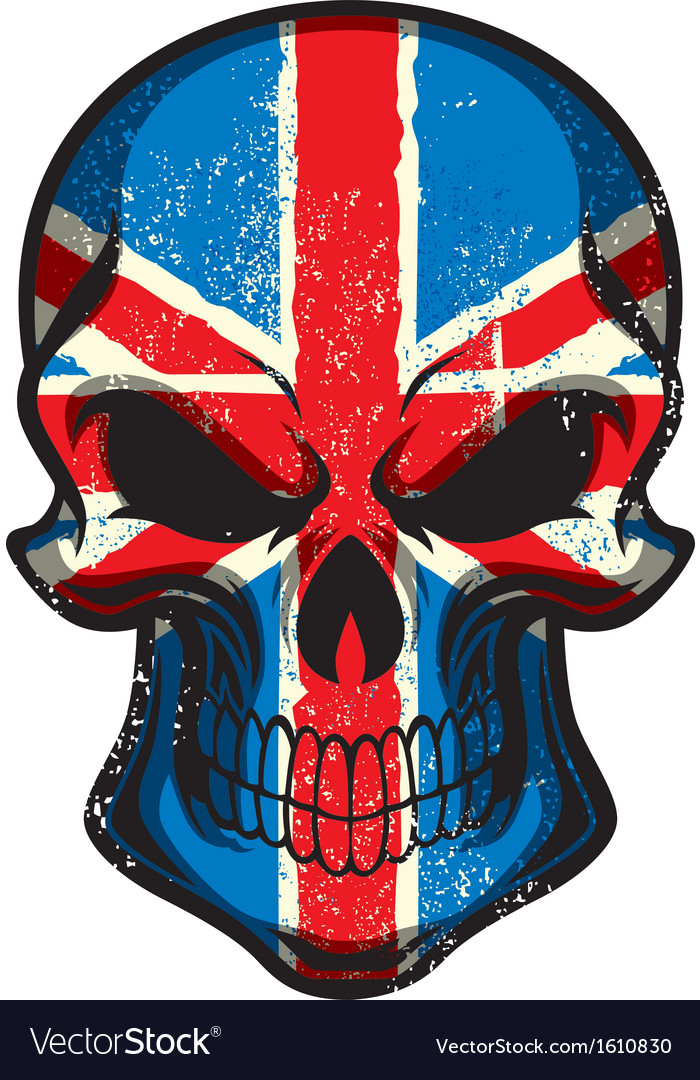 Uk flag painted on skull vector | Price: 1 Credit (USD $1)