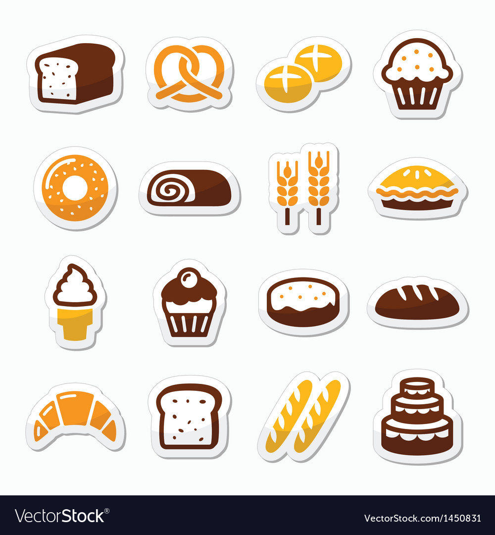 Bakery pastry icons set - bread donut cake vector | Price: 1 Credit (USD $1)