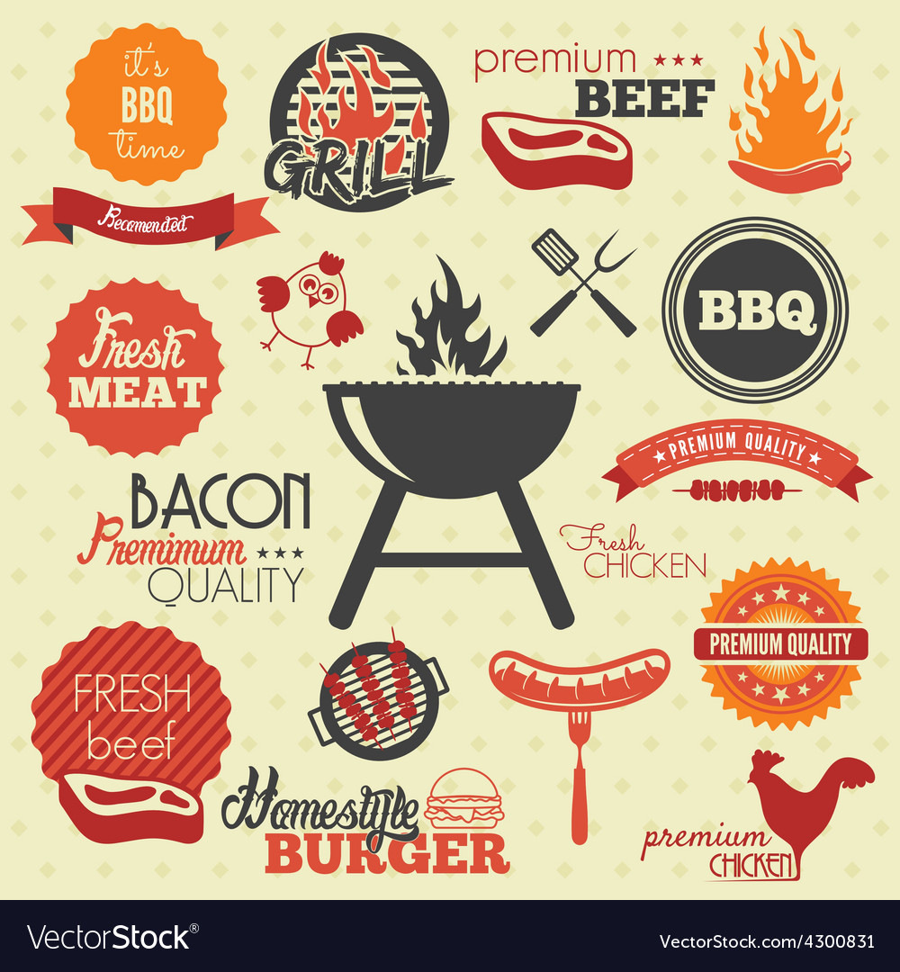 Bbq icons resize vector | Price: 1 Credit (USD $1)