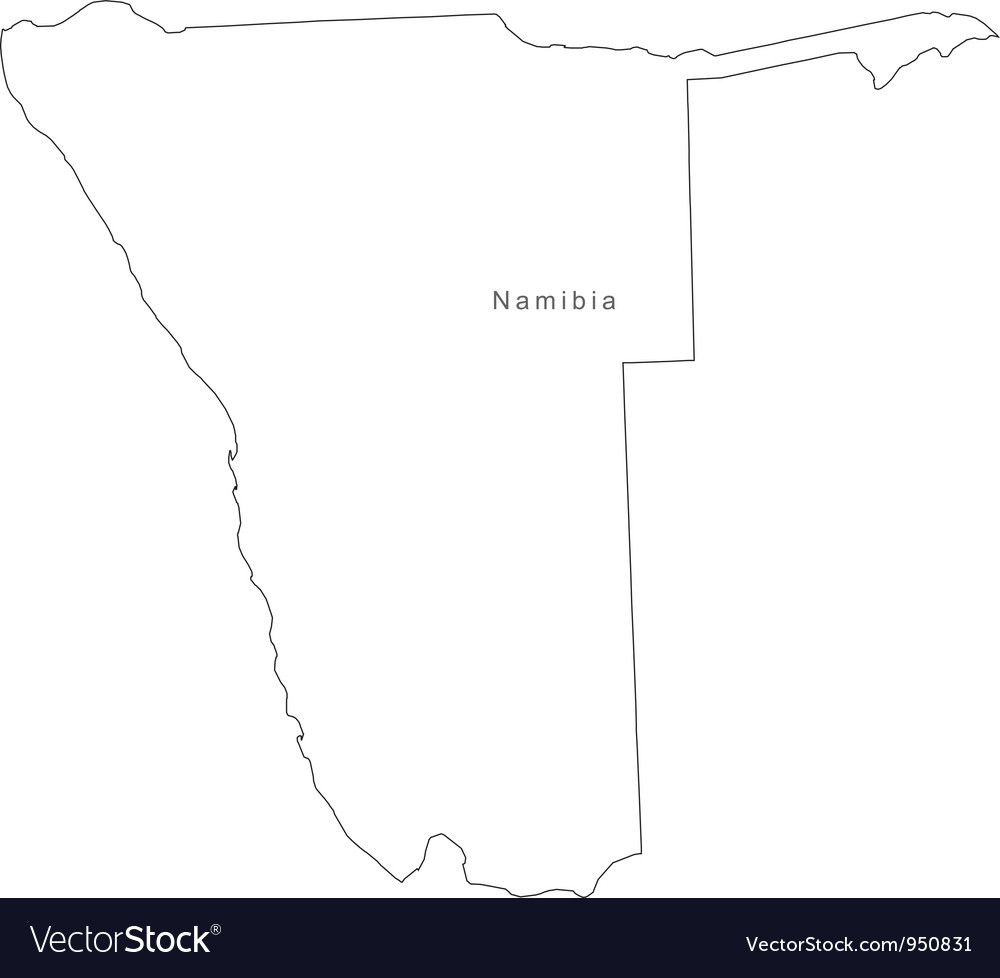 Black white namibia outline map vector | Price: 1 Credit (USD $1)
