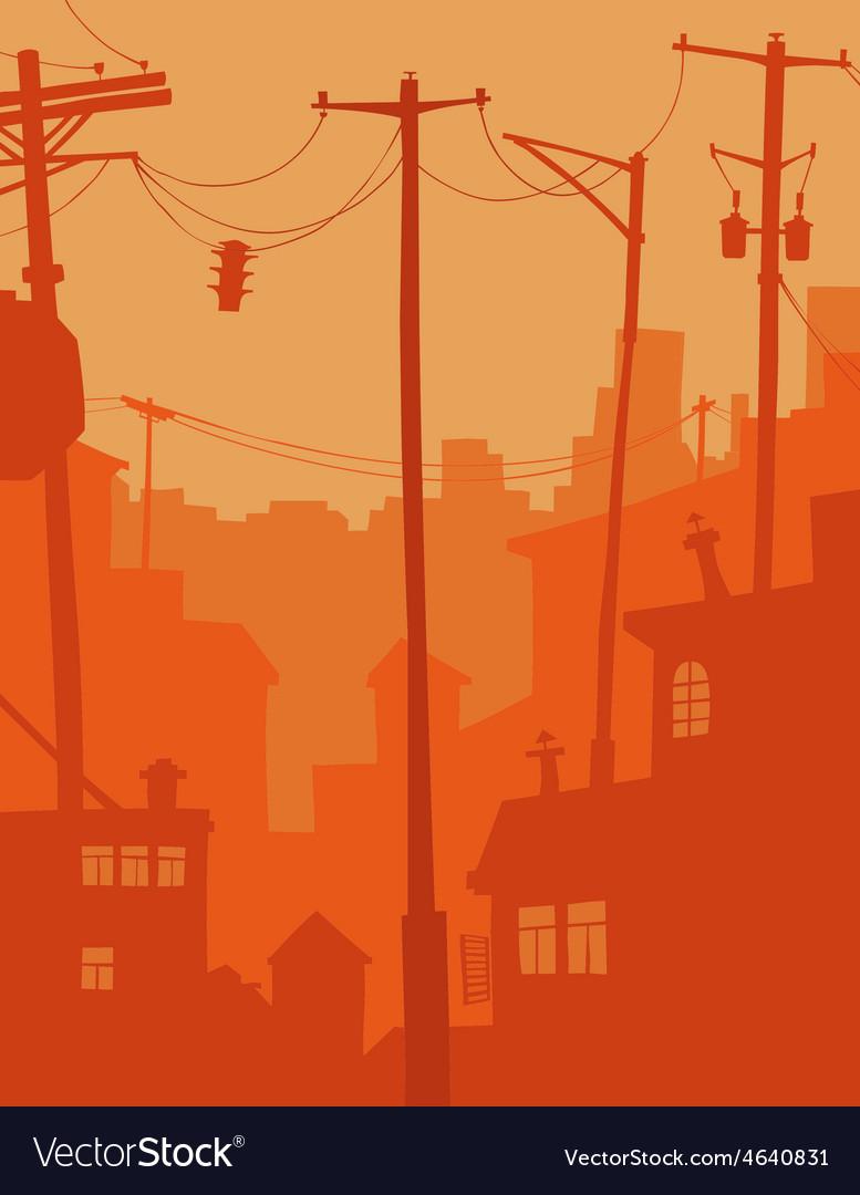 Cartoon city in orange tones vector | Price: 1 Credit (USD $1)