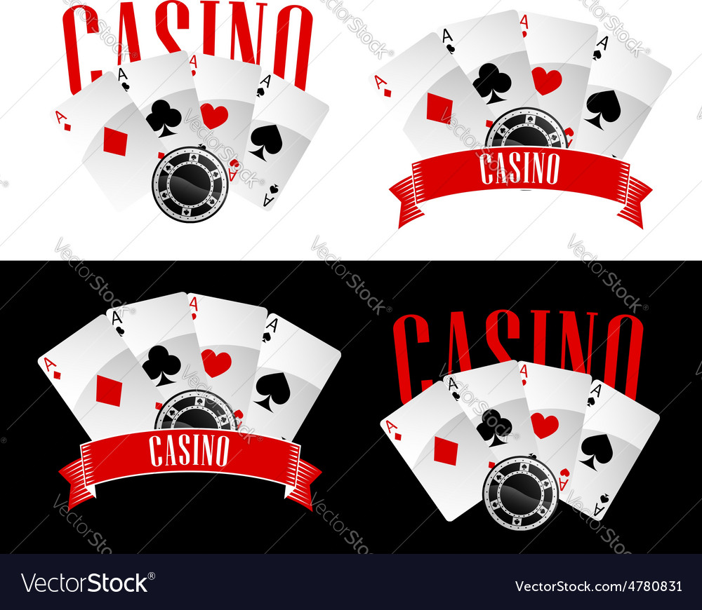 Casino icons with playing cards and chip vector | Price: 1 Credit (USD $1)