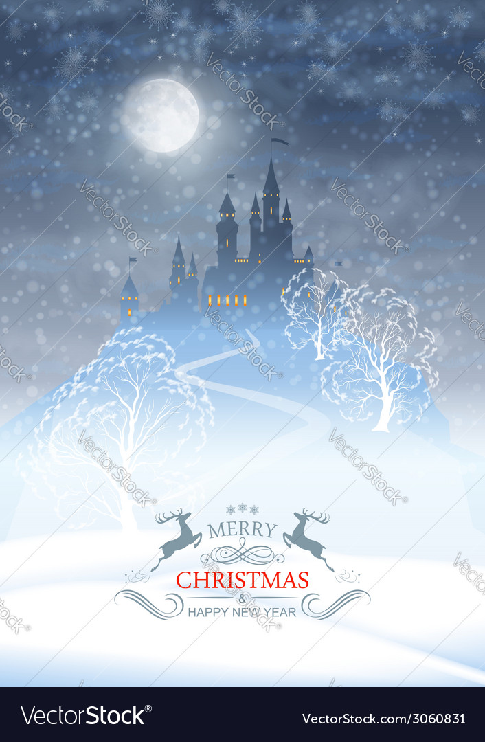 Christmas winter castle moonlight sky vector | Price: 1 Credit (USD $1)