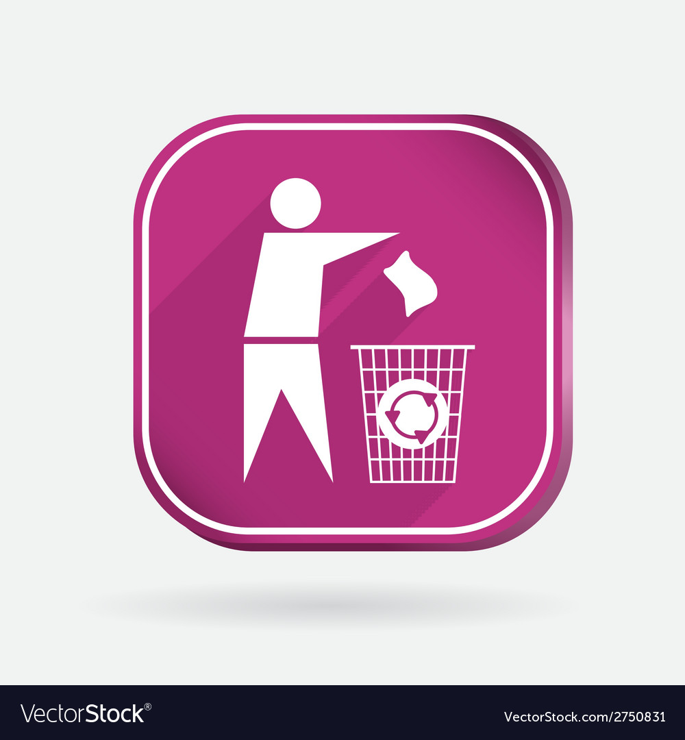 Do not litter color square icon vector | Price: 1 Credit (USD $1)