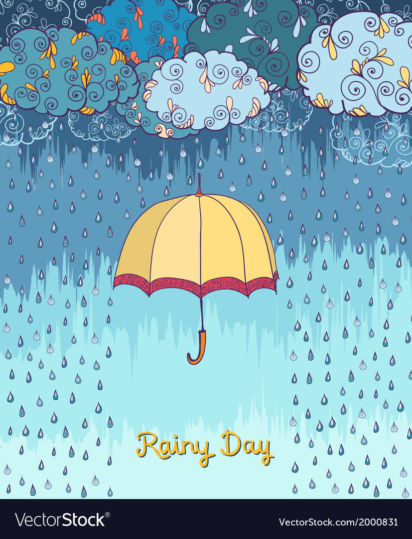 Doodles rainy weather decorative poster vector | Price: 1 Credit (USD $1)