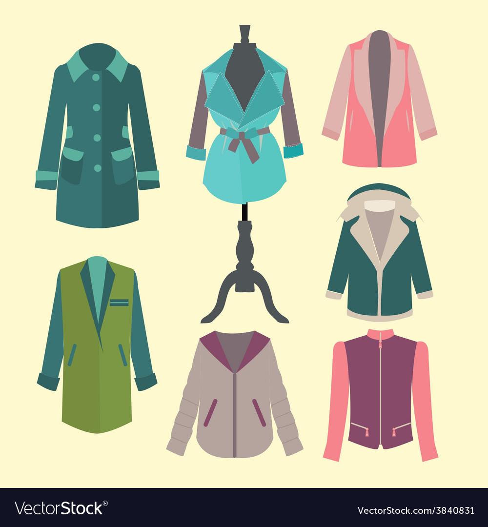 Fashion look flat woman outerwear vector | Price: 1 Credit (USD $1)