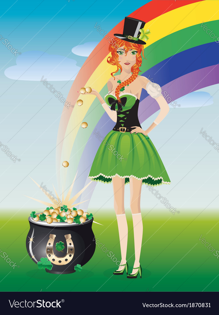 Leprechaun girl with pot of gold vector | Price: 3 Credit (USD $3)