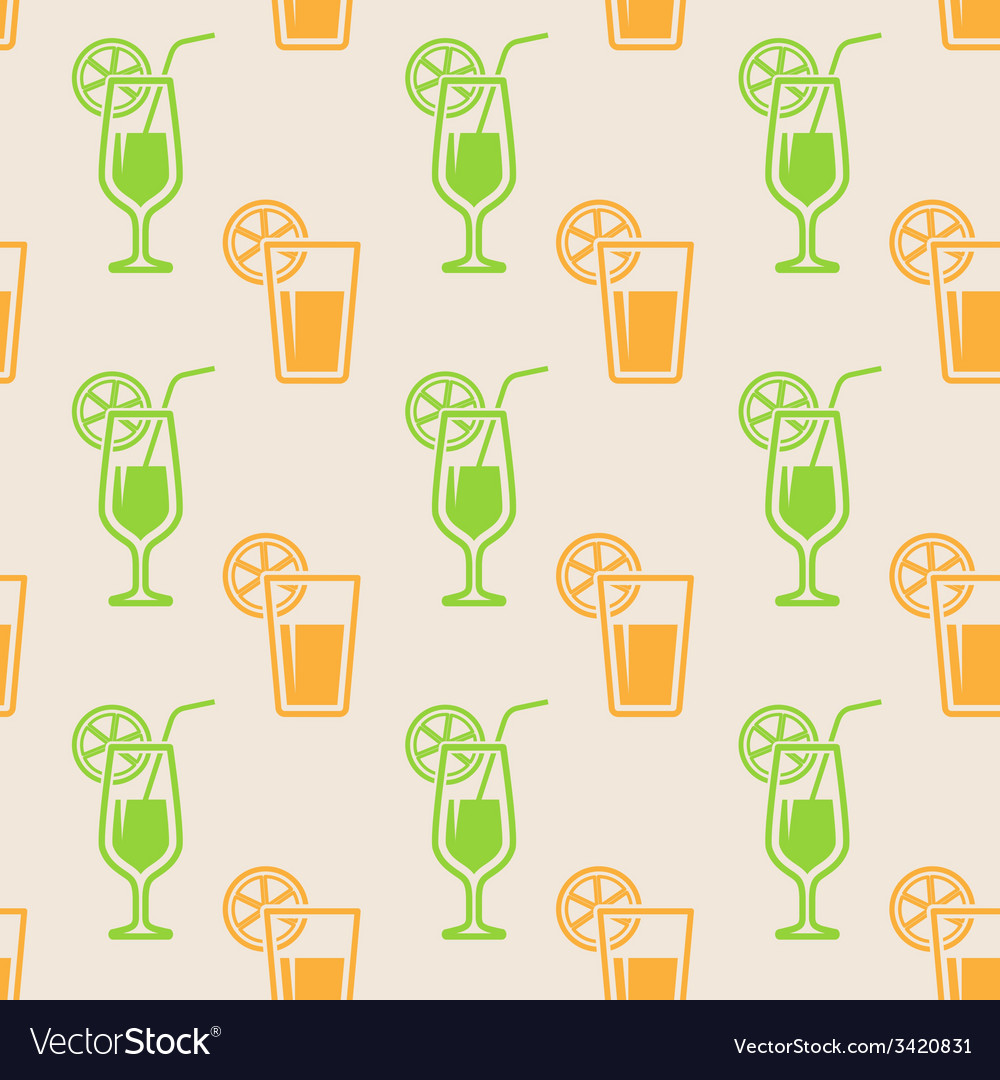 Seamless background with glasses of juice vector | Price: 1 Credit (USD $1)