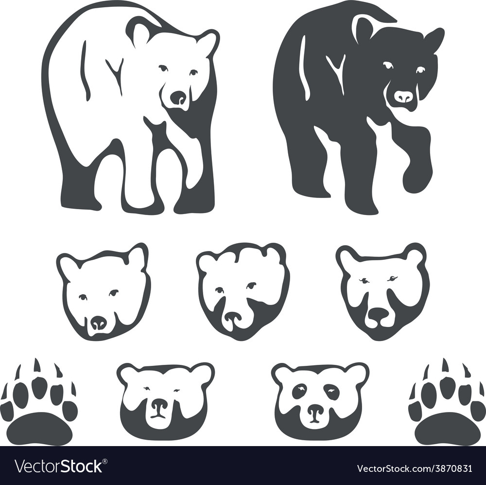 Set of bears for emblems and labels vector | Price: 1 Credit (USD $1)