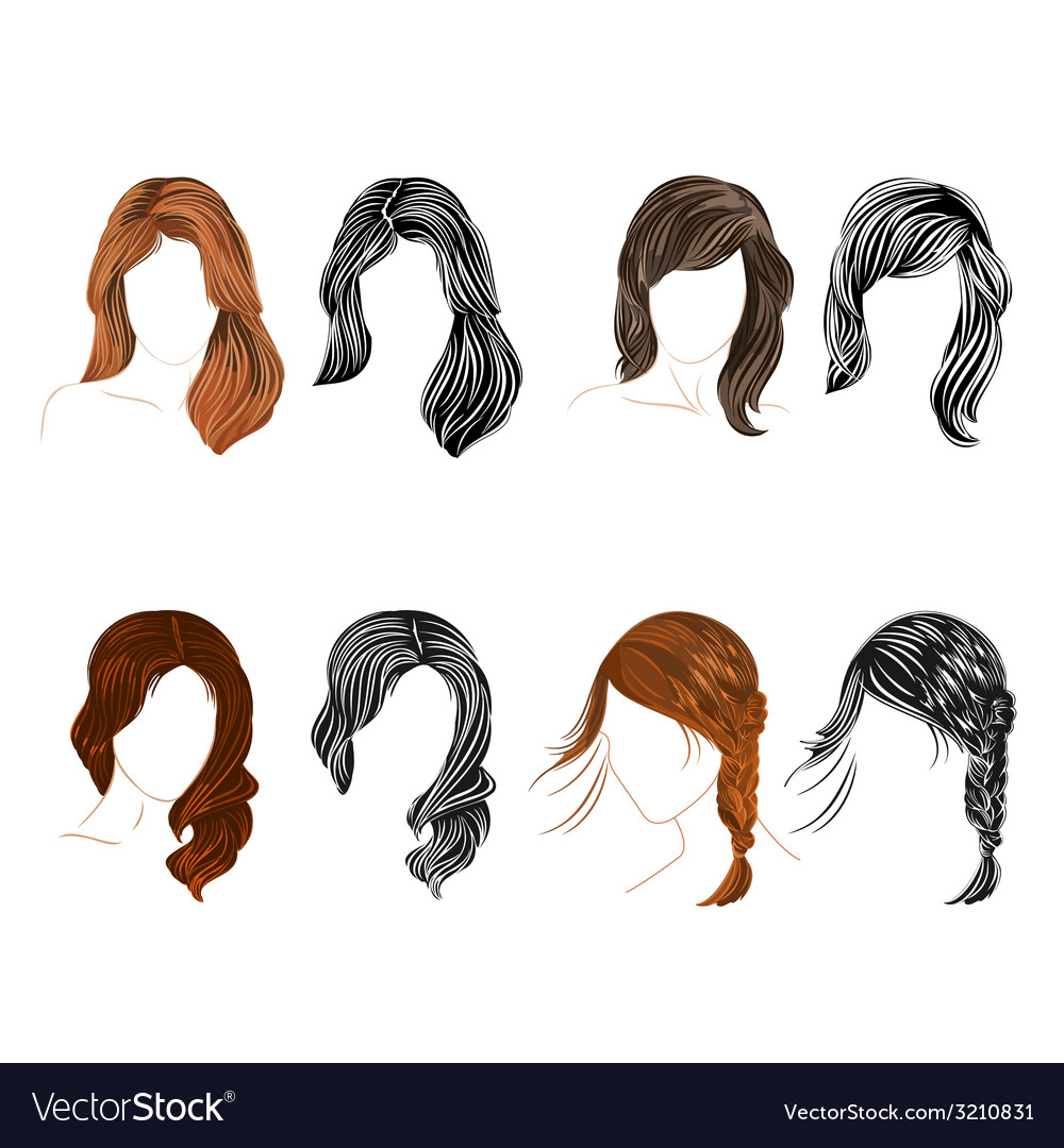 Set of four long hair natural and silhouette vector | Price: 1 Credit (USD $1)
