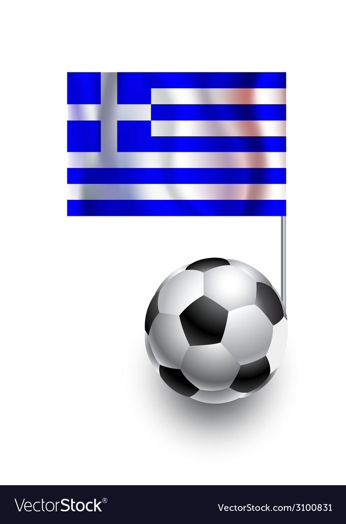 Soccer balls or footballs with flag of greece vector | Price: 1 Credit (USD $1)