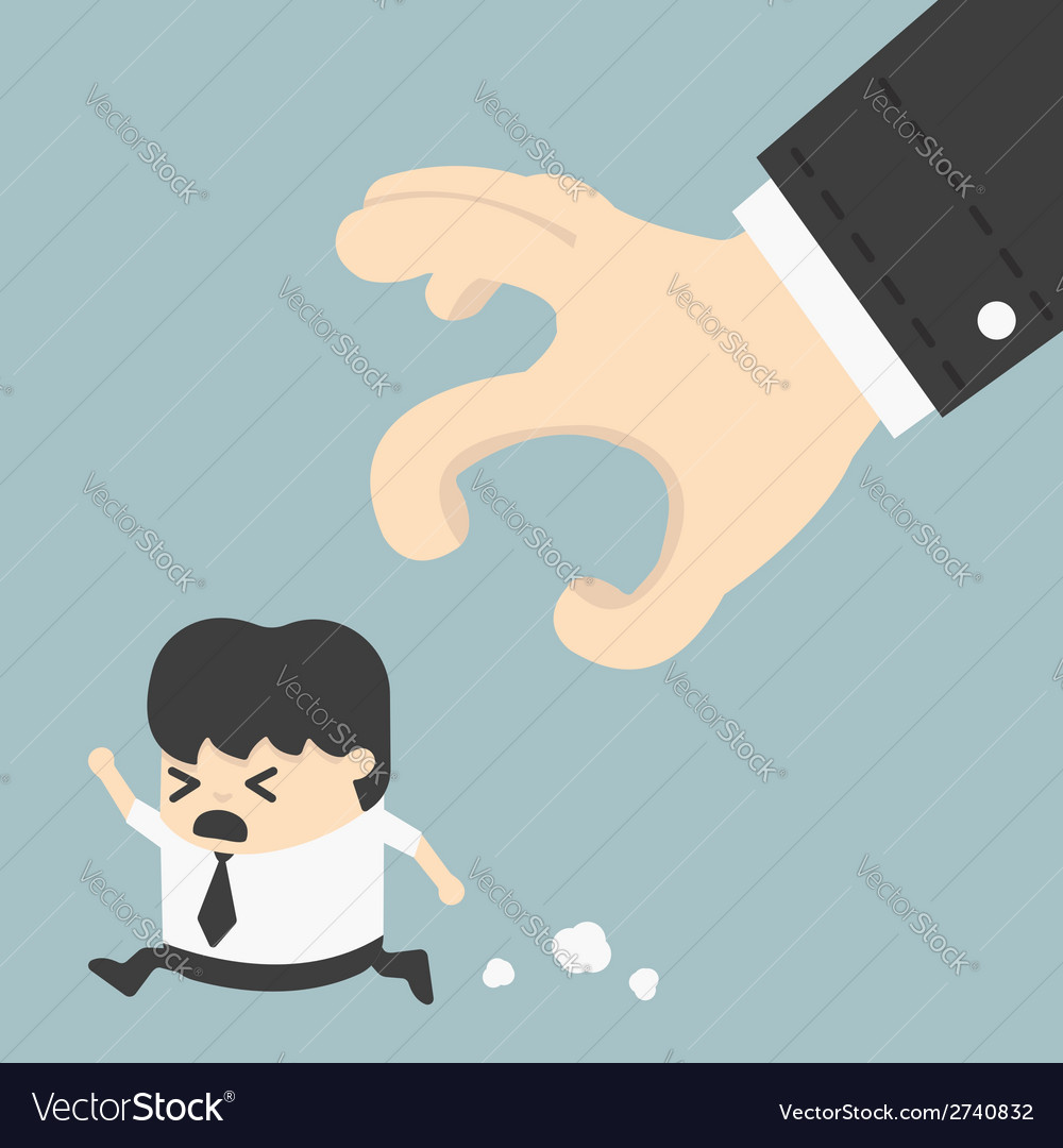 Businessman trying to run away from hand eps 10 vector | Price: 1 Credit (USD $1)