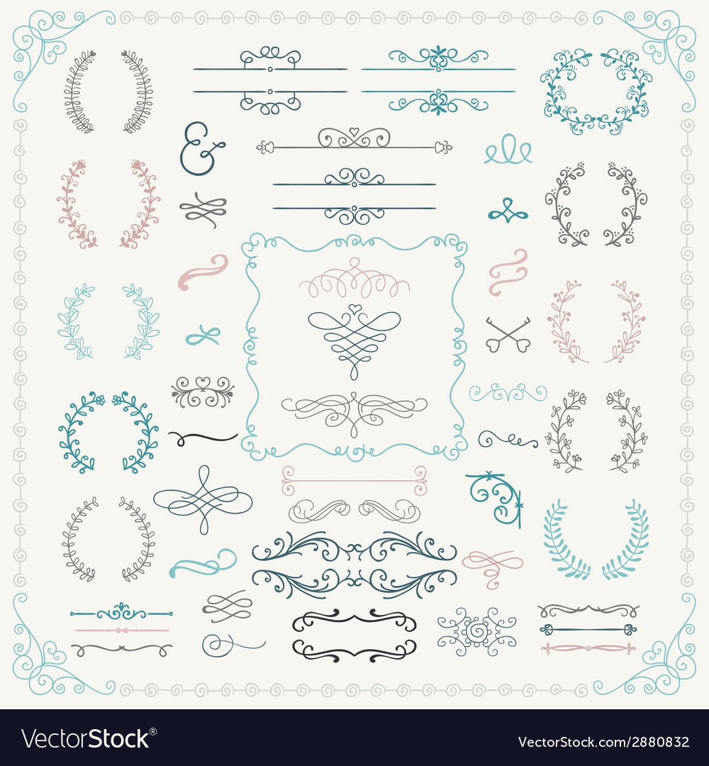Colorful hand drawn design elements vector | Price: 1 Credit (USD $1)