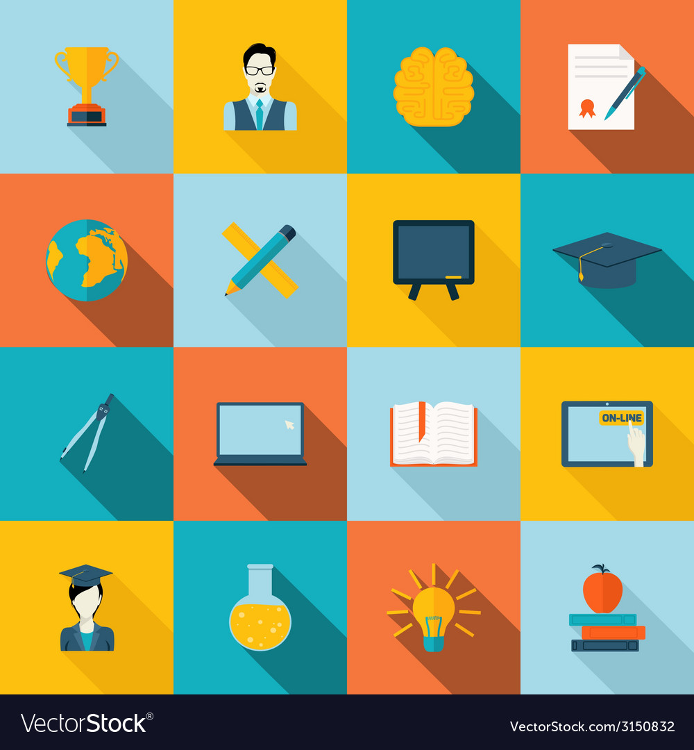 Education icons flat vector | Price: 1 Credit (USD $1)