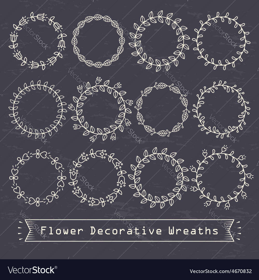 Flower decorative wreaths vector | Price: 1 Credit (USD $1)