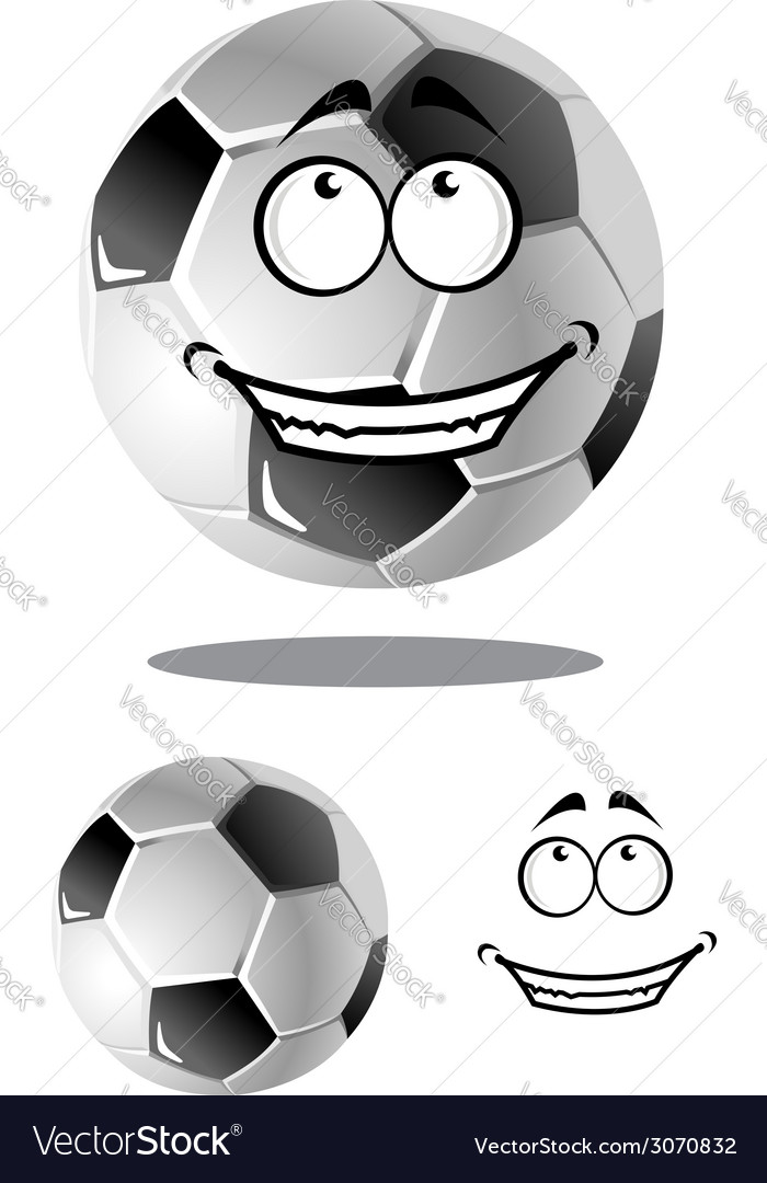 Happy cartoon soccer or football ball vector | Price: 1 Credit (USD $1)