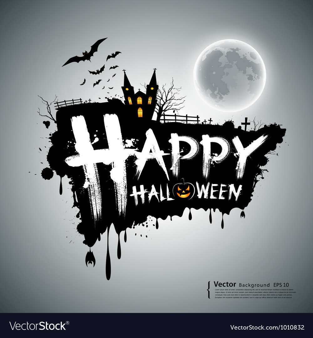 Happy halloween message design vector | Price: 1 Credit (USD $1)